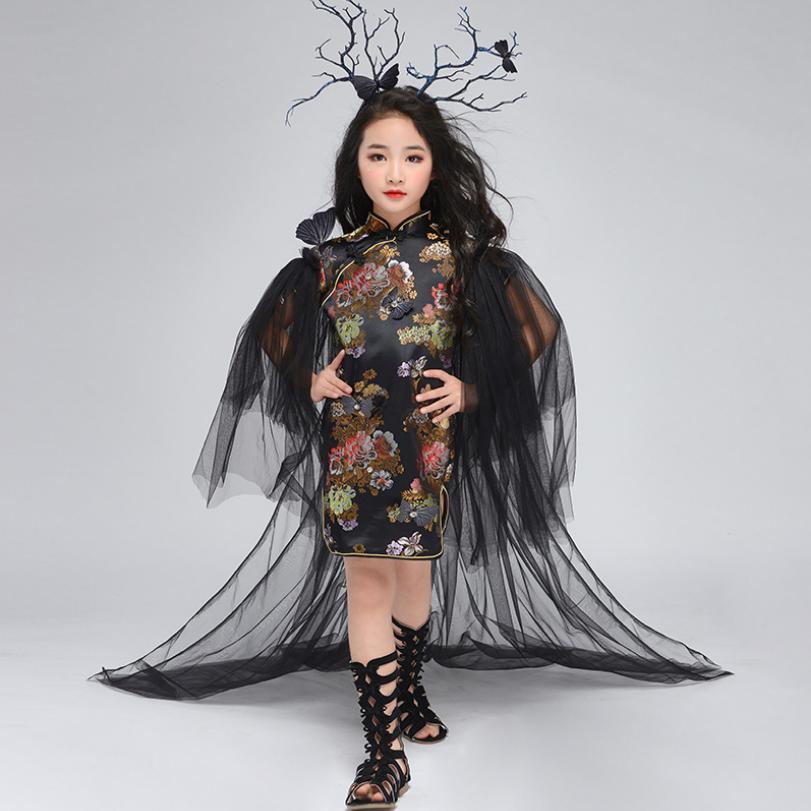 Sans accessoires de cheveux Style chinois Cheongsam robe de cape pour fille rétro noir enfants Performance vêtements Modis Vestidos Y1390