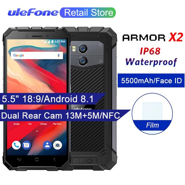 """Ulefone Armor X2 IP68 Waterproof Mobile Phones Android 8.1 5.5"""" 18:9 Quad Core MT6580 2GB 16GB 5500Mah Face ID NFC 3G Smartphone"""