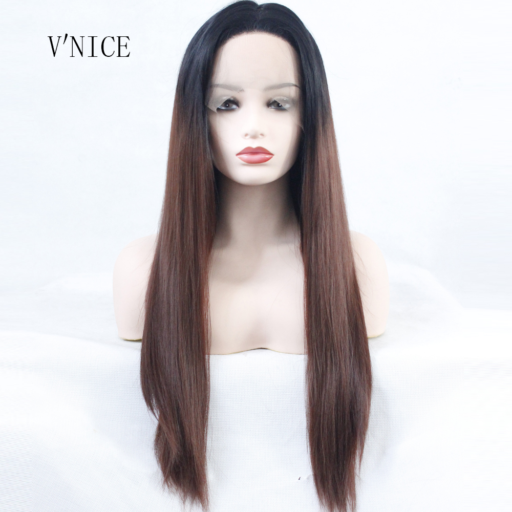 Aggressive V'nice Middle Part Wig Ombre Dark Brown Root Lace Front Wigs Synthetic Glueless Hair Lace Wigs Long Straight Heat Resistant Wig Year-End Bargain Sale