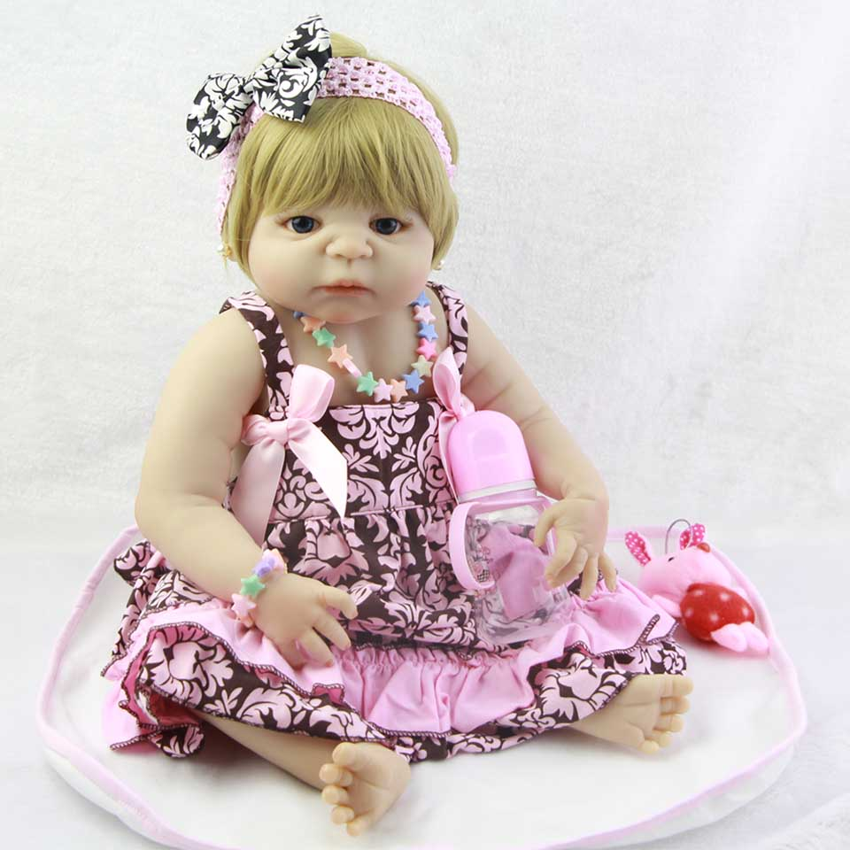 Wear Pink Dress Reborn Baby Dolls Realistic Princess 23 Full Body Vinyl Baby Dolls Handmade bebe