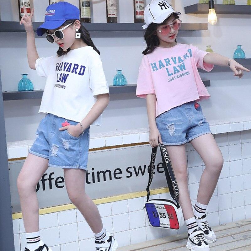 f766e2ca97d7 Pink T-shirt Pants 2 Pcs Kids Short Sleeve White Shorts Denim Hole Fashion  Jeans Summer Children Clothing Sets Girl Boutiqu Teen