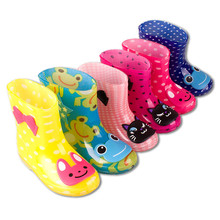 Original Baby Boy Girl Boy  Cartoon Rain Boot winter Snow shoe Cute Waterproof Shoe Children Slip Frog Rabbit Cat Dot pink Blue