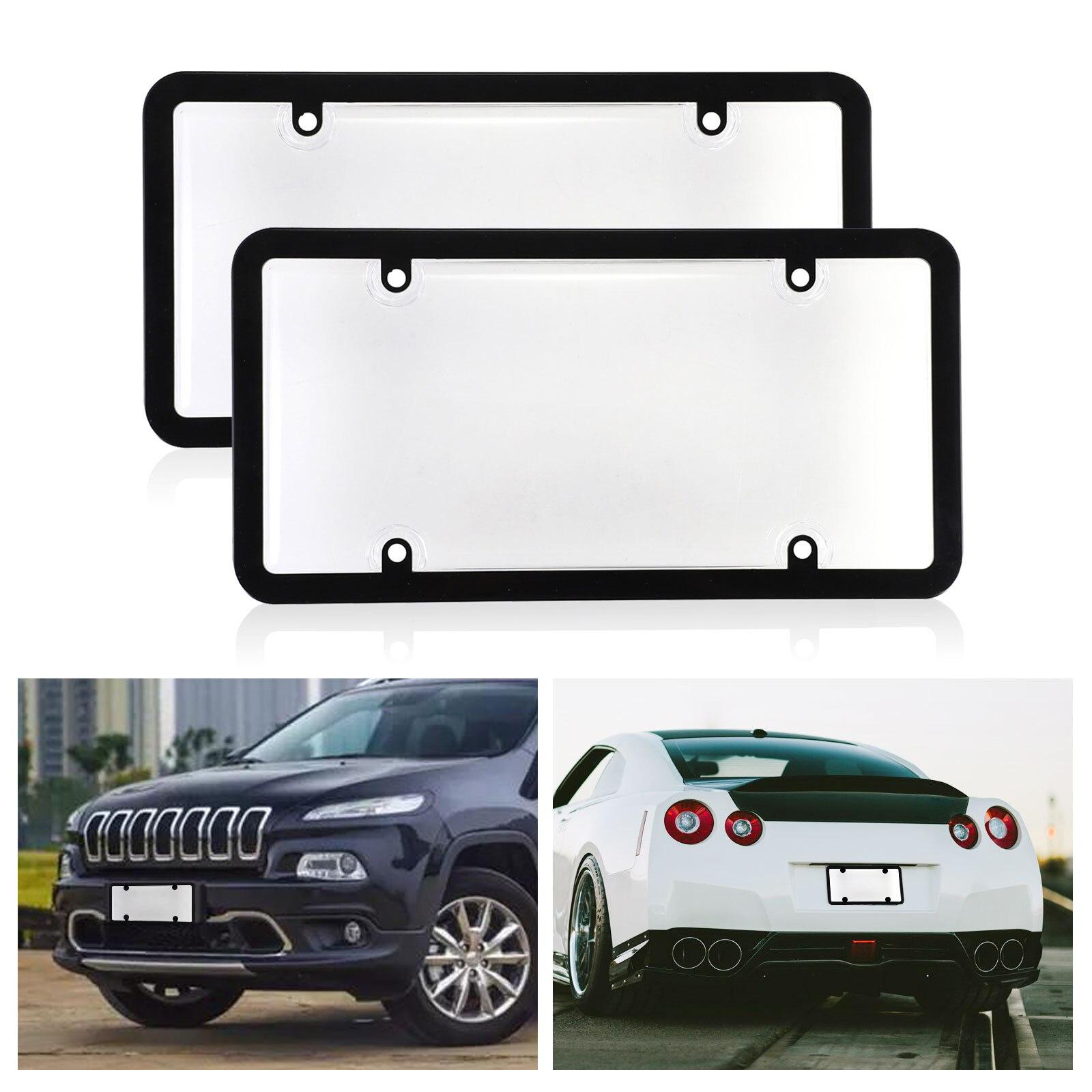 Universal 2pcs/set Clear Smoke Car License Plate Frame ...