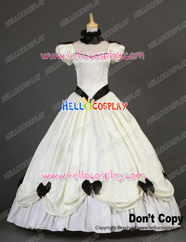 Victorian Southern Belle Princess Ball Gown Formal Reenactor White Lolita Dress Costume H008
