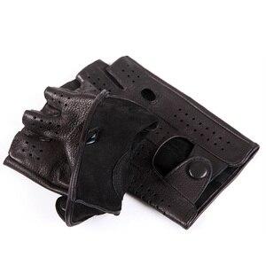 Image 5 - 2018 The Latest High Quality Semi Finger Genuine Leather Gloves MenS Thin Section Driving Fingerless Sheepskin Gloves M046P 5
