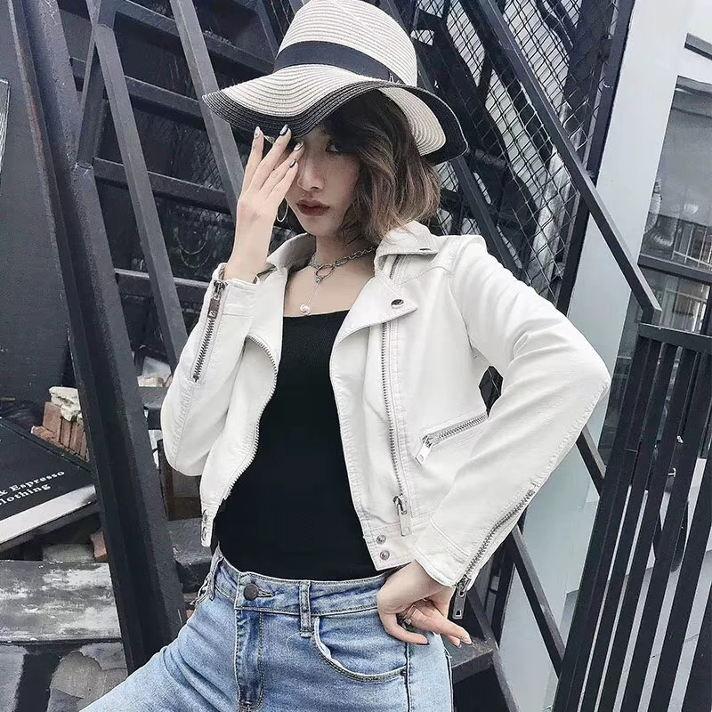 2019 New Fashion Women Spring Autumn Faux Smooth   Leather   Jackets Lady White Black Slim Fit PU Zipper Motorcycle Streetwear Coats