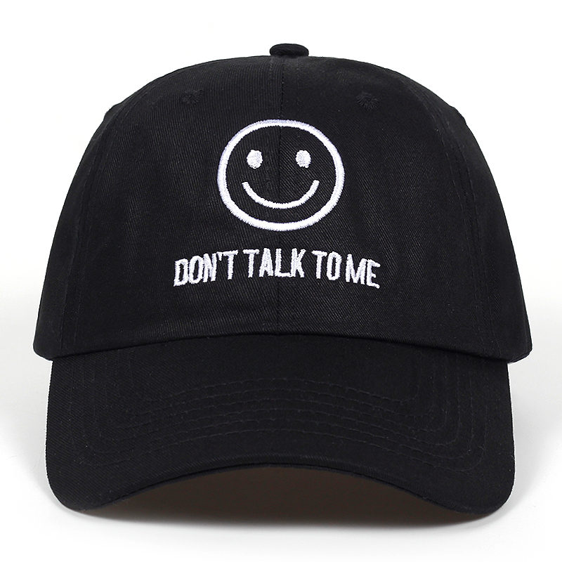 2018 new DONT TALK TO ME dad Hat men women fashion Smiley face Hip-hop Adjustable snapback black   Baseball     Caps   Embroidered   Cap