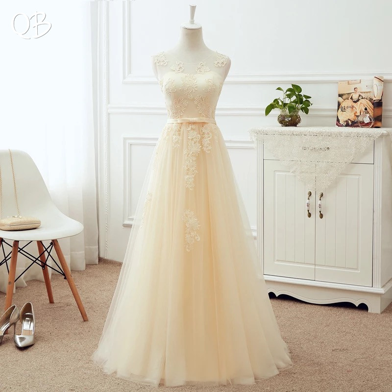 Many Colors A-line Lace Up Back Tulle Lace Bridesmaid Dresses Elegant  2019 New Long Formal Women Party Dress Gowns LA03