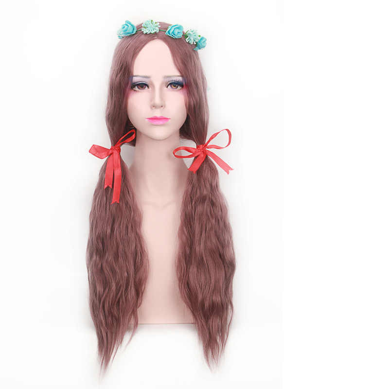 Harajuku Lolita Long Wavy Bang peluca resistente al calor Anime sintético Cosplay luz verde gris Rubio marrón pelucas para mujer