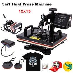 29*38CM 5 en 1 máquina de prensa de calor impresora de sublimación columpio lejos Transferencia de tela tapa taza placa máquina de camisetas