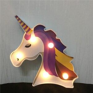 Image 5 - Factroy Price Night Light Unicorn Lamp LED Unicornio Head Kids Night Light 3D Painted Lamp For Xmas Gift Party Table Decoration