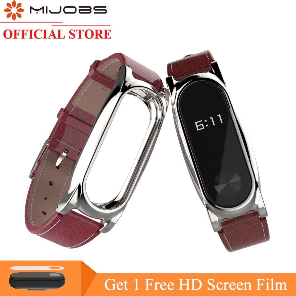 Mijobs PU Lederband für Xiaomi Mi Band 2 Band für Mi Band 2 Smart Uhr Armband Schraubenlose Handgelenk Armband für Miband 2 Band