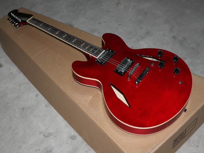 Wholesale Cnbald G Dave Grohl Signature Jazz Electric Guitar Semi Hollow Body In Red 110415 wholeslale dave grohl dg335 es 335 6 string electric guitar with great logo es 335 in white 100913