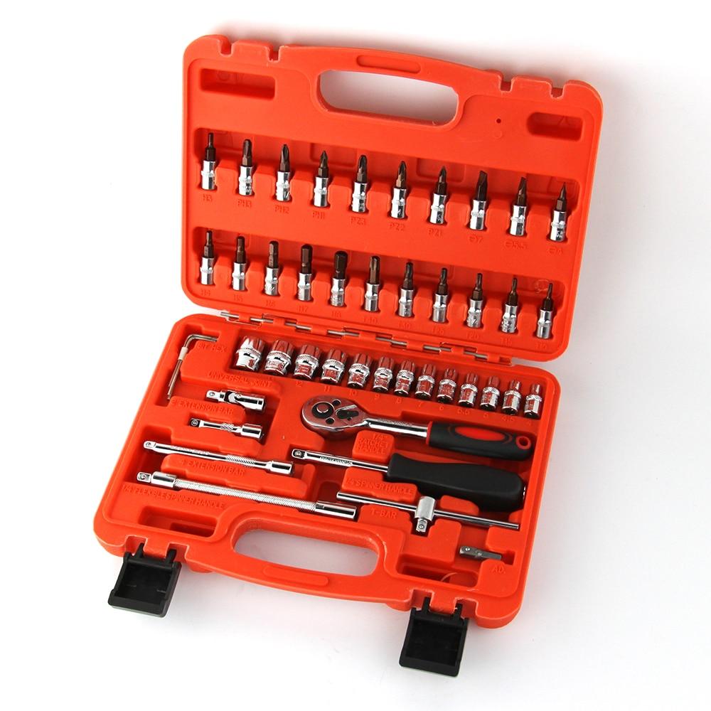 Industrial grade 46 pieces combination socket set ratchet socket tool set car repair tool set