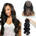 360 Lace Frontal With Bundle Pre Plucked 360 Lace Frontal Closure With Wig Cap With 2 Bundles Body Wave Brazilian Virgin Hair