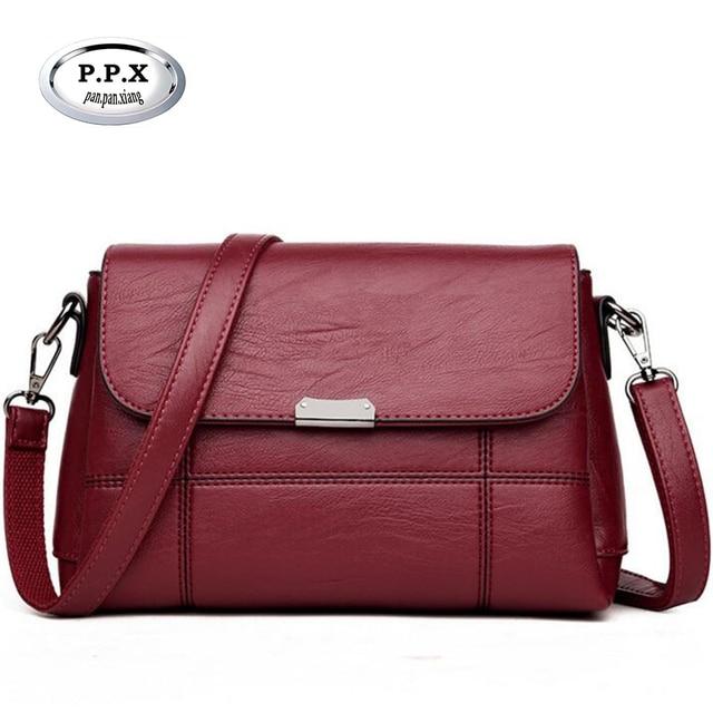 d9fe5a5fb622 Autumn Winter Middle-aged Female Bag Vintage Women Shoulder Bag Case Grain  Leather Lady Messenger Bag Luxury Brand Handbags A799