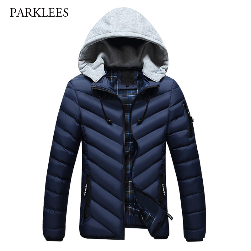 New Winter Hooded Jacket Men 2017 Fashion Warm Mens Down Cotton Padded Jackets Casual Quilted Male Outwear Manteau Homme Hiver