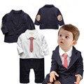 Детская одежда 2015 малышей мальчики одежда для новорожденных infantil джентльмен полосатый ползунки + пальто комплект одежды vestidos bebes комбинезон
