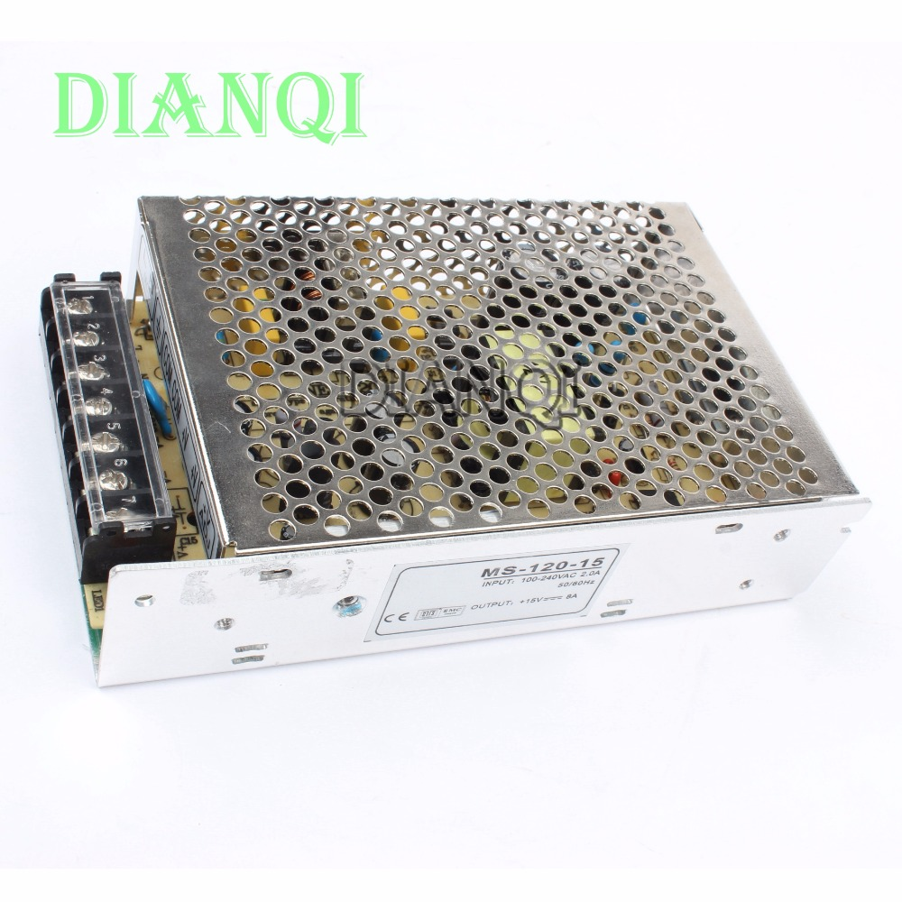 DIANQI power supply 120W 15V 8A power supply unit 120w 15v mini size din led power supply  ac dc converter ms-120-15 ms 120 15 120w 15v 8a single output mini size led switching power supply transformer ac to dc