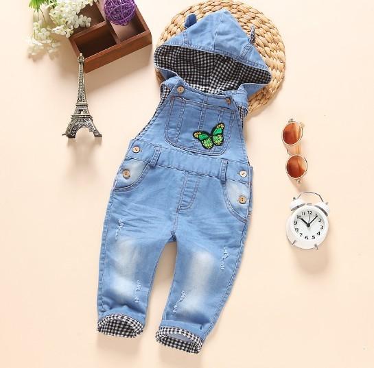 Novo 2016 outono meninas bordar borboleta denim geral com capuz bebê menina calça jeans meninas macacões roupa das crianças