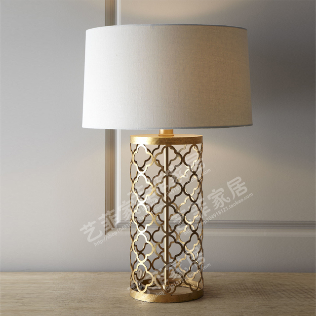 New French country table lamp retro laser geometry Luang gold openwork  IJ75