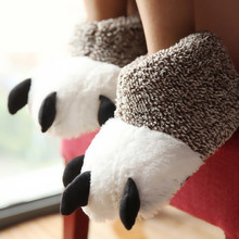 New Fashion Thermal Winter Indoor Cotton Padded Plush Cartoon Bear Claw Non-slip Slippers Home Cotton Slippers Floor Shoes