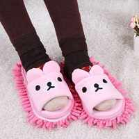 Cartoon Bear Scrub Removable Chenille Dust Mop Slippers Household Home Accessories Micro Fiber Sanitary Floor Cleaning Kichen