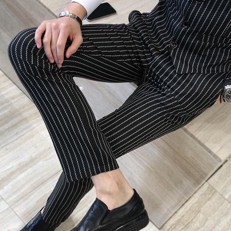 3 предмета (куртка + жилет + брюки) мужской двубортный костюм Модный Полосатый Свадебный костюм жениха, смокинг для мужчин повседневный деловой костюм - 5