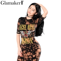 Glamaker Floral Bodycon Casual Dress Women Short Sleeve Cool Dress Punk Short Summer Dress Party Club
