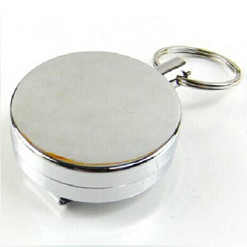 Unique Silver Metal Retractable Pull Key Chain Reel ID Badge Lanyard Name Tag Card Badge Holder Reel Recoil Belt Clip