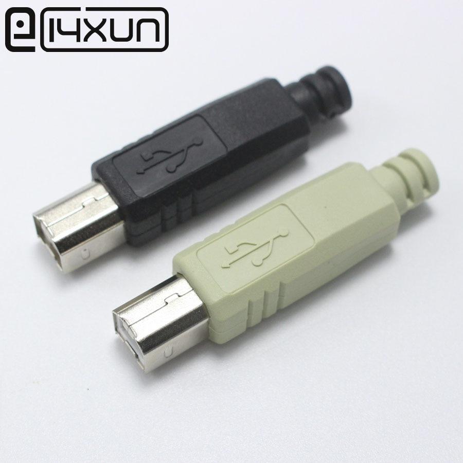 EClyxun 1Pcs DIY USB 2.0 Type B 2 Pin Male Printer Port Assembly Adapter Connector Plug Socket Solder Plastic Shell 4 In 1