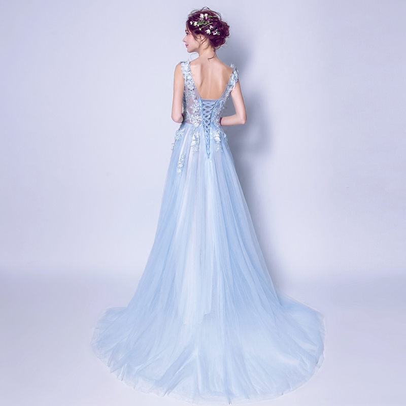 Walk Beside You Light Blue Evening Dresses 2019 Luxury Beaded with Butterfly Lace Applique Prom Gowns vestido longo sereia