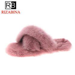 RIZABINA/пикантные розовые и красные зимние тапочки с открытым носком, женская обувь, домашние уличные тапочки, женская обувь на плоской