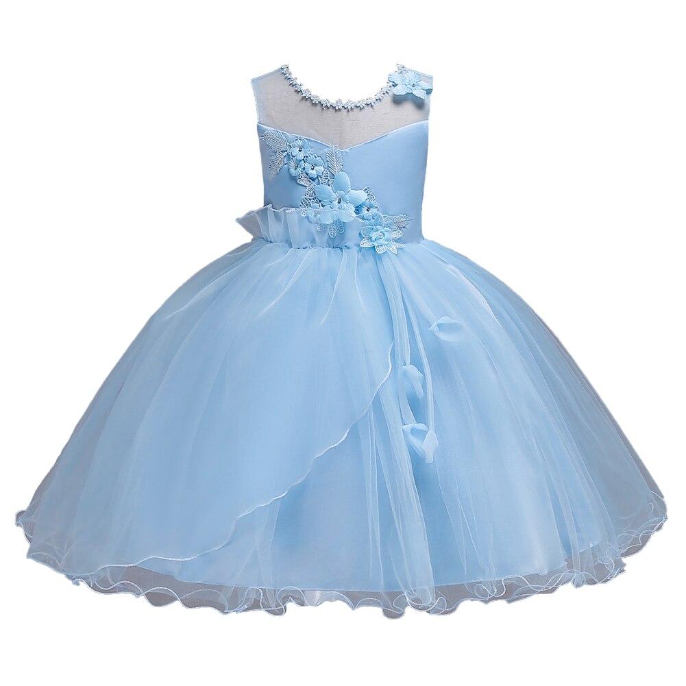 New Kids Clothing Ruffle Ribbons Children Knee Length Flower Girl Light Blue Dresses for Girl Wedding Party 2 4 6 8 To 16 Years