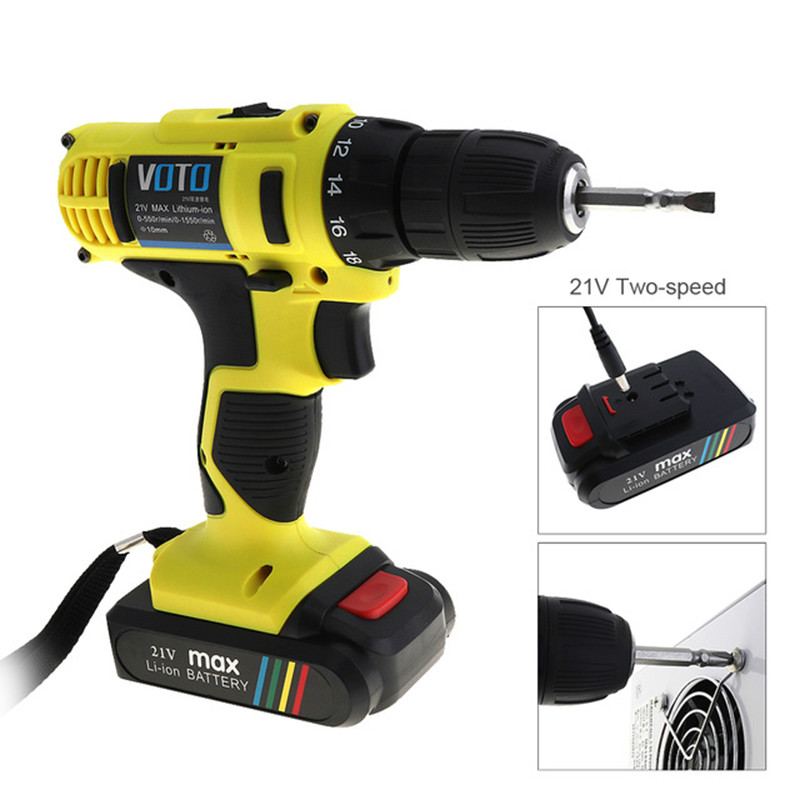 цена на 21V Electric Drill Household Multi-function Electric Screwdriver Double Speed Lithium Cordless Drill Power Tools
