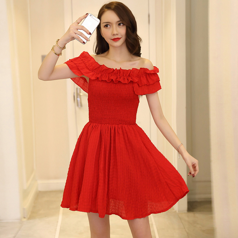 New 2018ach Women dress Ruffles A Short Word Shoulder Off-the-shoulder Posed Waist Dresses White Red 810