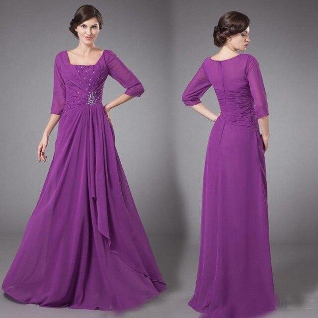 vestidos para mama de la novia 2016 Purple Chiffon Long Mother of ...