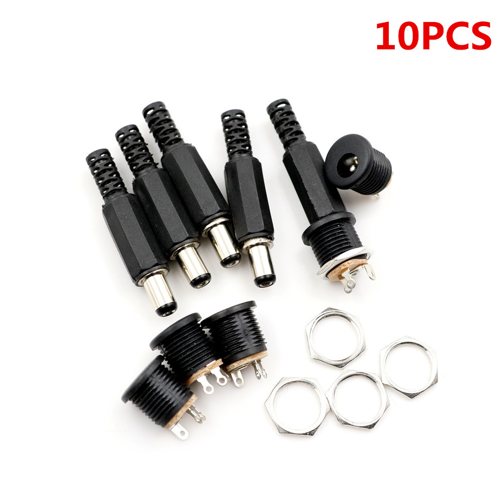 5pcs 5.5*2.1 mm DC Power Plug Connector Male to Male Panel Mounting Adaptor ptYT