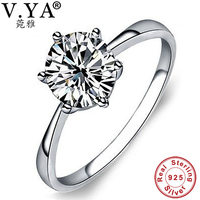 Wholesale 100 Pure S925 Sterling Silver Elegant Bride Wedding Man Made Diamond Ring TOP Quality Fine