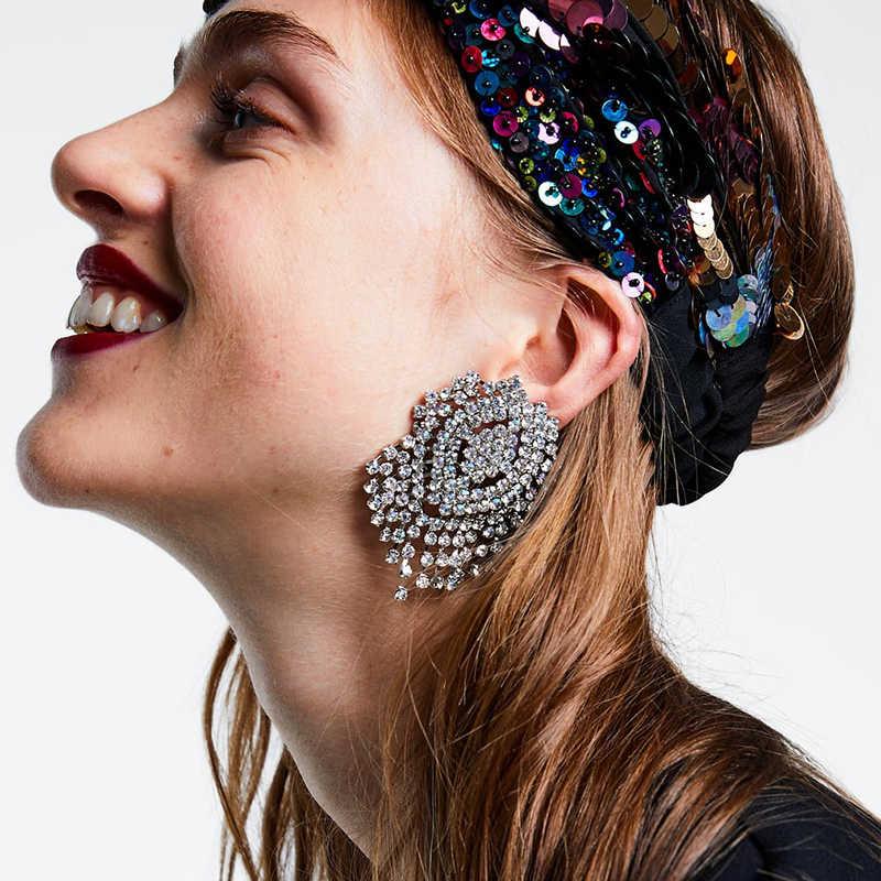 Dvacaman ZA White Crystal Statement Wedding Drop Earrings Women Long Beads Tassel Earrings Handmade Jewelry Big Hanging Earrings
