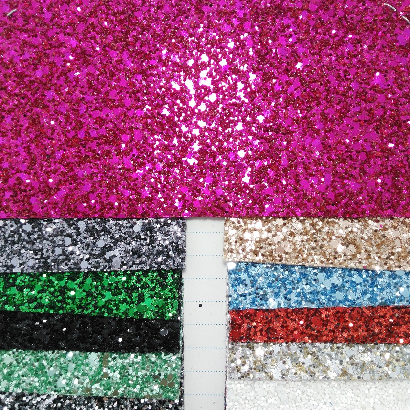 91x134cm Synthetic Leather Vinyl Fabric Chunky Glitter Leather Fabric with Stretch Backing for Bows DIY accessories
