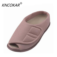 Fully open mouth of the elderly people's big feet bone puffy multi functional health care shoes home convenient and comfortable