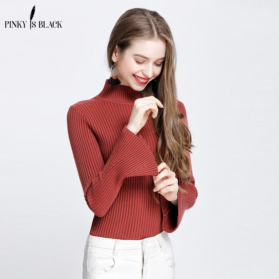 Pinky Is Black 2018 Autumn and Winter basic Women Sweater Turtleneck Candy Color Sweater Flare Sleeve sweater top thread slim