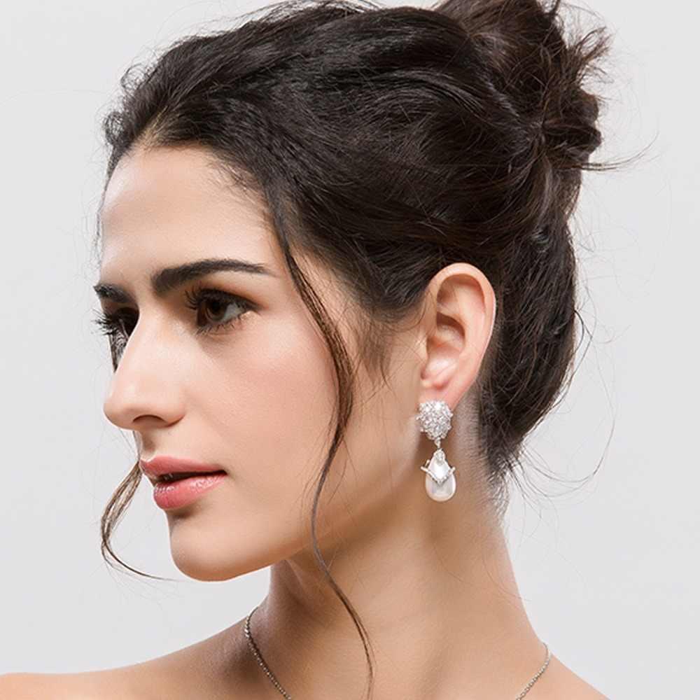LUOTEEMI Wholesale  South Korea Artificial Latest Design Luxury White Watedrop Created Pearl Wedding Bridal Earrings