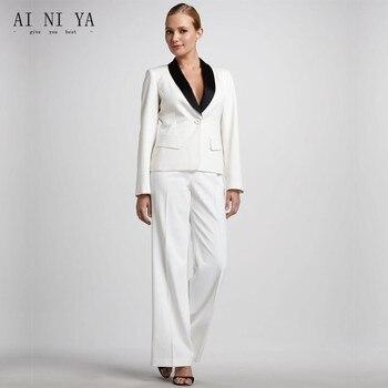 New One Button Black Lapel Womens Business Suits Autumn Ladies Winter Formal Suits Office Uniform Female Trouser Suits