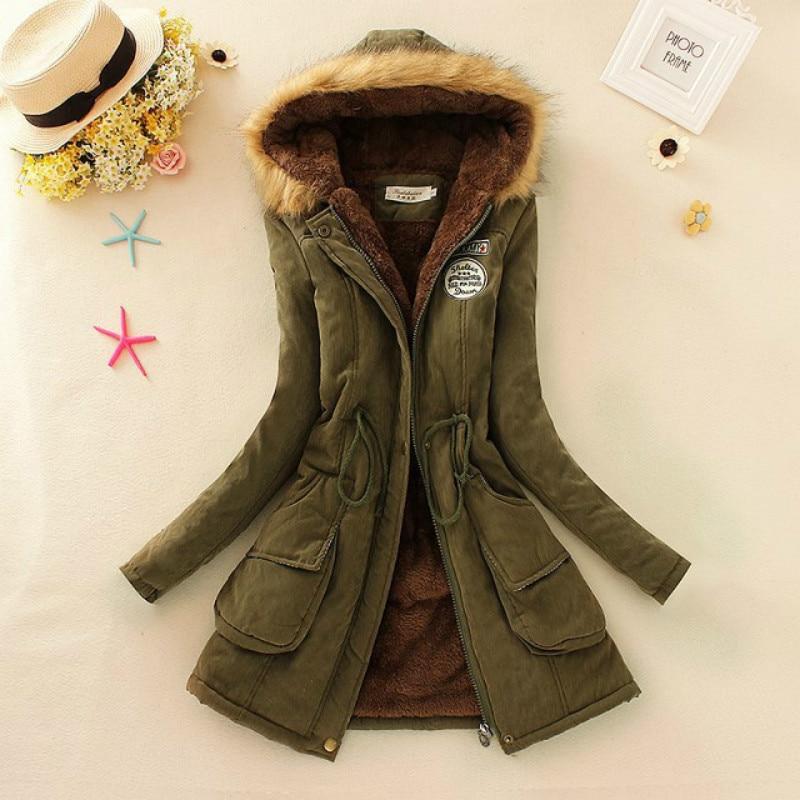 Autumn Warm Winter Jackets Parkas Women Coats Fashion Women Fur Collar Long Parka Plus Size Hoodies Casual Cotton Outw
