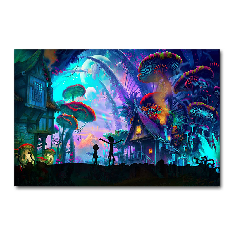 Anime Silk Wallpaper Poster House Mushroom Pictures 24x36inch-Decoration Rick Morty Abstract
