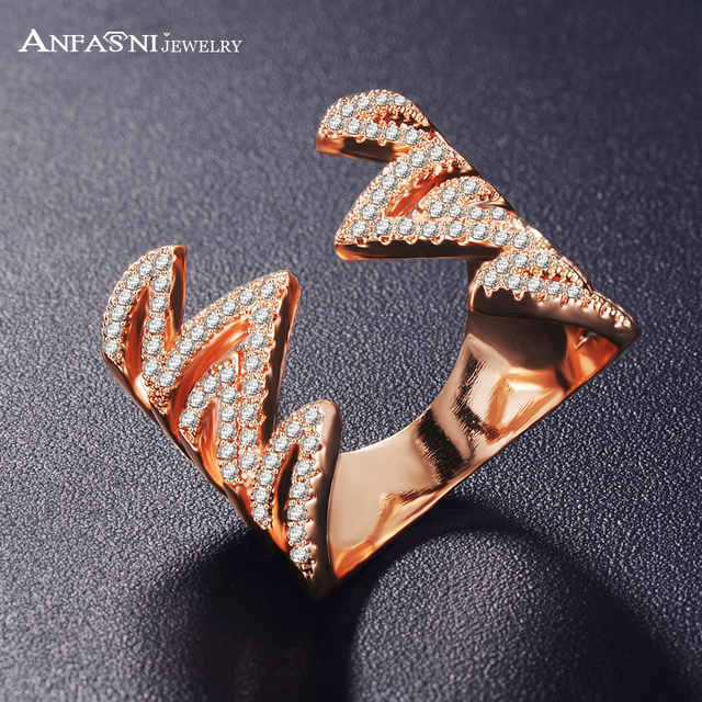 ANFASNI Fashion Engagement Rings for Women Bijoux  Symmetry Wave Rose Golden Color Party Best Gift CRI1038