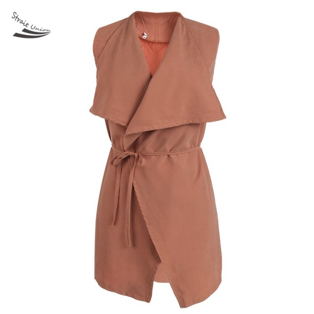 Fashion Women Long Waistcoat Coat Femme Sleeveless Jacket Chalecos Mujer With Belt 12