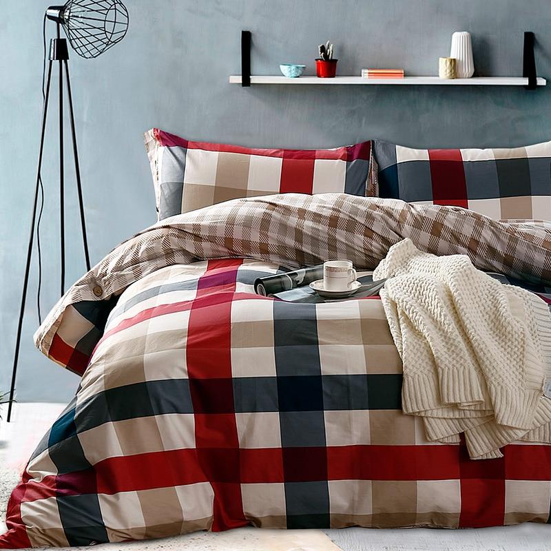 100 cotton black white plaid bedding sets queen double size duvet cover set bed fit sheet 4pcs. Black Bedroom Furniture Sets. Home Design Ideas